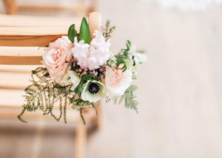 Pink & White Floral Pew End Flower Arrangement | Blush Pink, Romantic, Country Wedding Inspiration at Tithe Barn, Dorset | Darima Frampton Photography