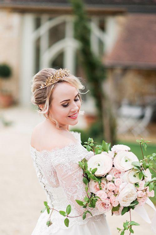 Gold Bridal Headpiece | Bride in Lace, Bardot Bridal Gown | Blush Pink, Romantic, Country Wedding Inspiration at Tithe Barn, Dorset | Darima Frampton Photography
