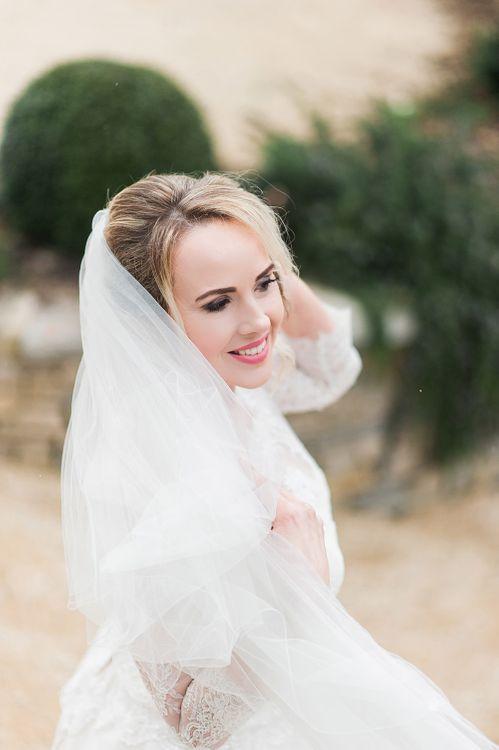 Wedding Veil | Bride in Lace, Bardot Bridal Gown | Blush Pink, Romantic, Country Wedding Inspiration at Tithe Barn, Dorset | Darima Frampton Photography