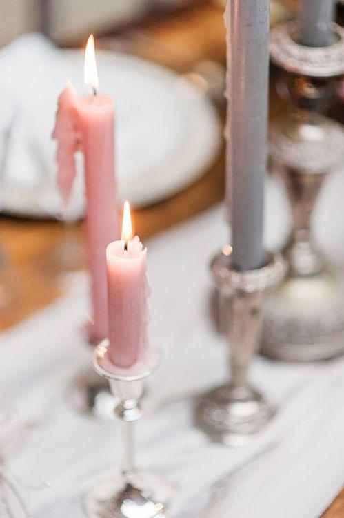 Taper Candles Wedding Decor | Blush Pink, Romantic, Country Wedding Inspiration at Tithe Barn, Dorset | Darima Frampton Photography