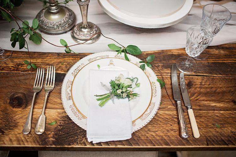 Elegant Place Setting with Vintage China Plates | Blush Pink, Romantic, Country Wedding Inspiration at Tithe Barn, Dorset | Darima Frampton Photography