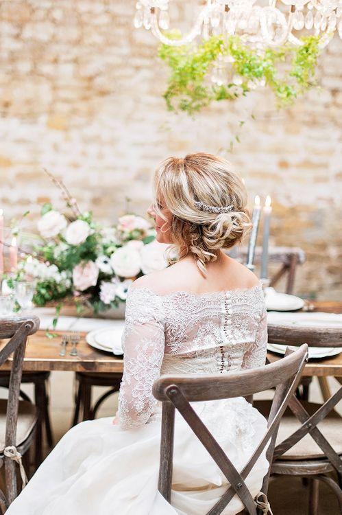 Bride in Lace, Bardot Bridal Gown | Blush Pink, Romantic, Country Wedding Inspiration at Tithe Barn, Dorset | Darima Frampton Photography