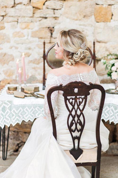 Lace, Bardot Bridal Gown | Blush Pink, Romantic, Country Wedding Inspiration at Tithe Barn, Dorset | Darima Frampton Photography