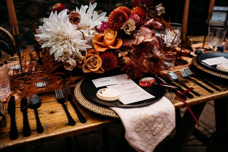 Caramel, raspberry and rust wedding theme table decor and details