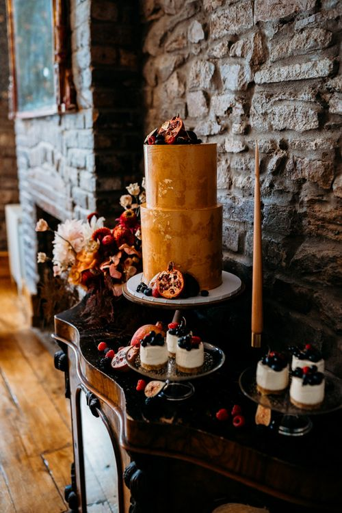 Rust wedding theme cake and individual desserts