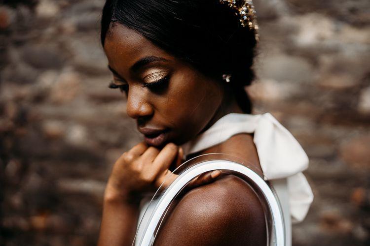 Natural bridal makeup for rust wedding theme