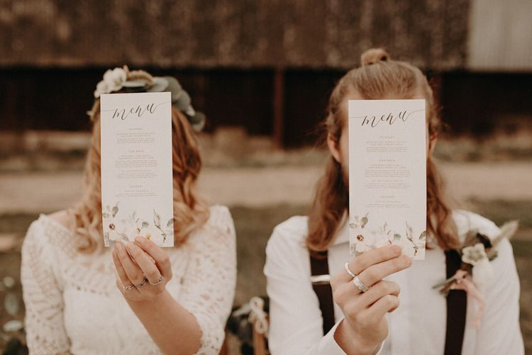 Wonderland Invites Wedding Stationery | Two Bohemians Couple | Lucy Can't Dance Lace Bridal Gown | Boho at The Barns at Lodge Farm, Essex, by Rock The Day Styling | Kelsie Low Photography
