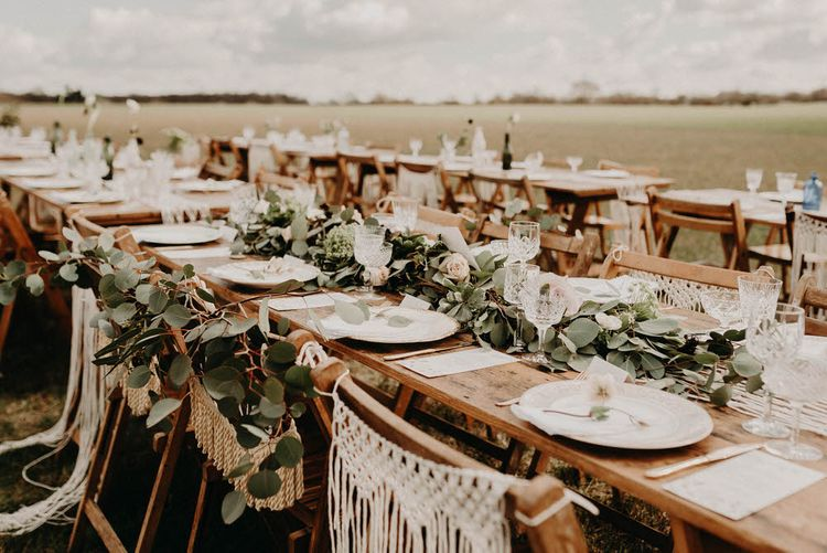 Vintage China Place Setting | Macrame Chair Back Decor | Trestle Tablescape | Boho at The Barns at Lodge Farm, Essex, by Rock The Day Styling | Kelsie Low Photography