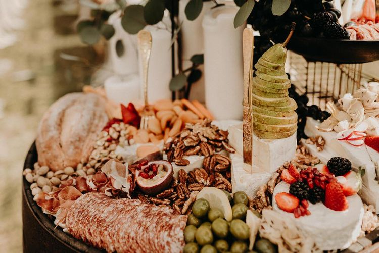 Grape & Fig Grazing Barrel Boho at The Barns at Lodge Farm, Essex, by Rock The Day Styling | Kelsie Low Photography