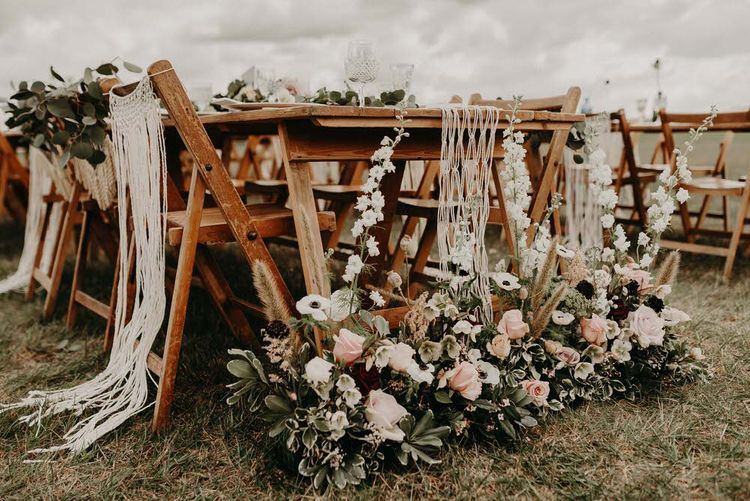 Vintage Rose Floral Arrangement | Boho at The Barns at Lodge Farm, Essex, by Rock The Day Styling | Kelsie Low Photography