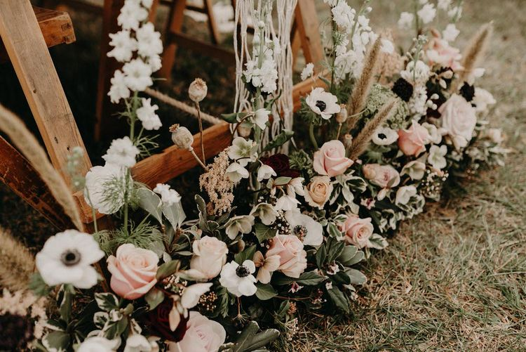 Antique Pink Rose Floral Arrangement | Boho at The Barns at Lodge Farm, Essex, by Rock The Day Styling | Kelsie Low Photography