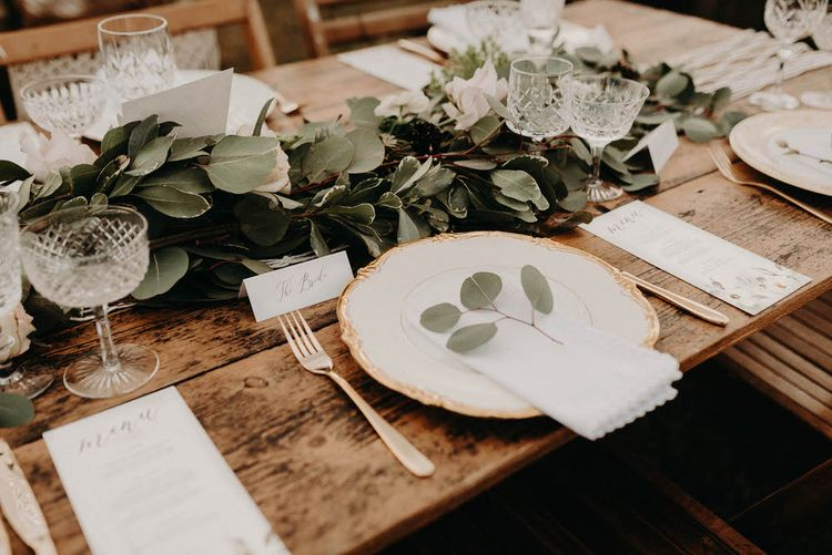 Vintage Plate Table Setting | Boho at The Barns at Lodge Farm, Essex, by Rock The Day Styling | Kelsie Low Photography