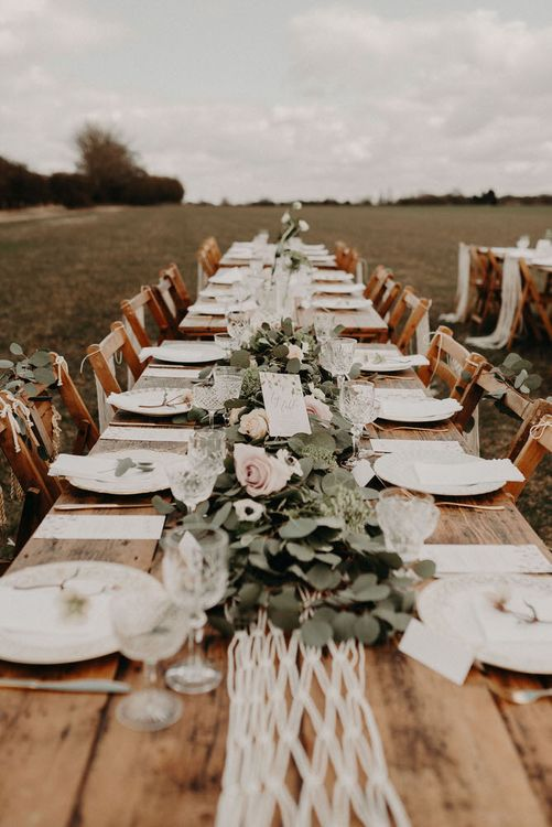 Trestle Tablescape Wedding Decor | Boho at The Barns at Lodge Farm, Essex, by Rock The Day Styling | Kelsie Low Photography