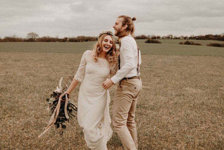 Two Bohemians Couple | Lucy Can't Dance Lace Bridal Gown | Boho at The Barns at Lodge Farm, Essex, by Rock The Day Styling | Kelsie Low Photography