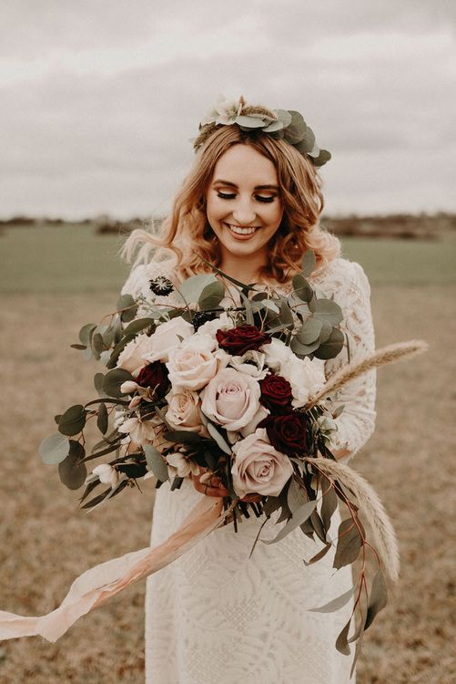 Vintage Pink Rose & Burgundy Bouquet | Two Bohemians Bride | Lucy Can't Dance Lace Bridal Gown | Boho at The Barns at Lodge Farm, Essex, by Rock The Day Styling | Kelsie Low Photography