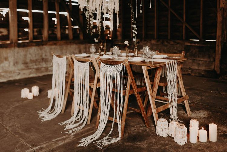 Table Scape | Goblets, Macrame & Vintage Plate Wedding Decor | Boho at The Barns at Lodge Farm, Essex, by Rock The Day Styling | Kelsie Low Photography