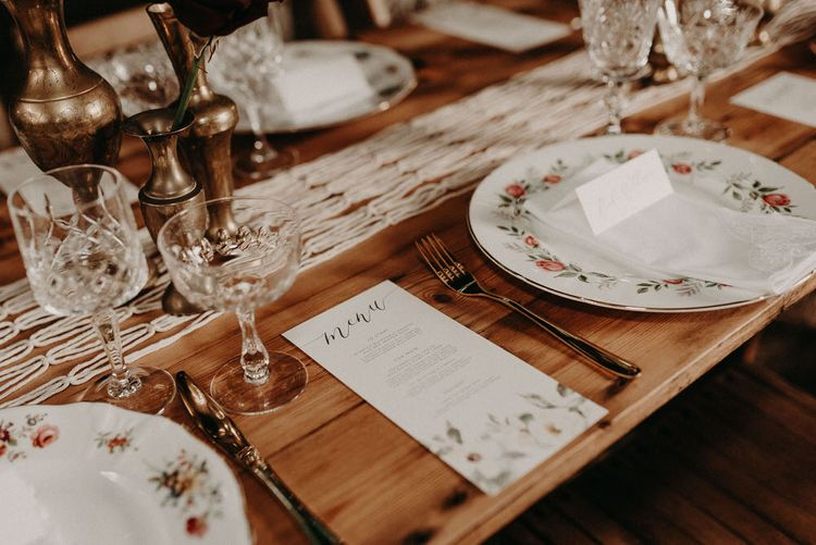 Wonderland Invites Wedding Stationery | Table Scape | Goblets, Macrame & Vintage Plate Wedding Decor | Boho at The Barns at Lodge Farm, Essex, by Rock The Day Styling | Kelsie Low Photography