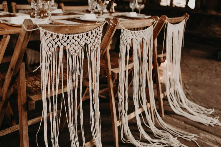 Macrame Chair Backs  | Wedding Decor | Boho at The Barns at Lodge Farm, Essex, by Rock The Day Styling | Kelsie Low Photography