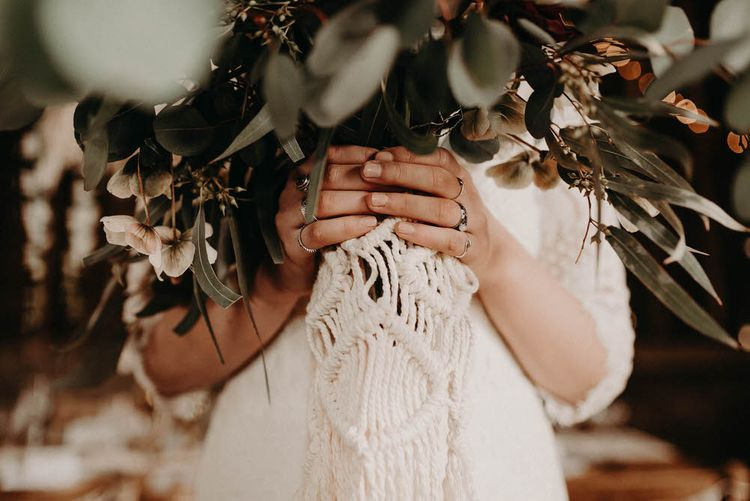 Macrame Bouquet Wrap | Boho at The Barns at Lodge Farm, Essex, by Rock The Day Styling | Kelsie Low Photography
