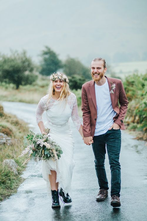 Elopement with bride in separates and bridal boots. . Boho wedding dresses