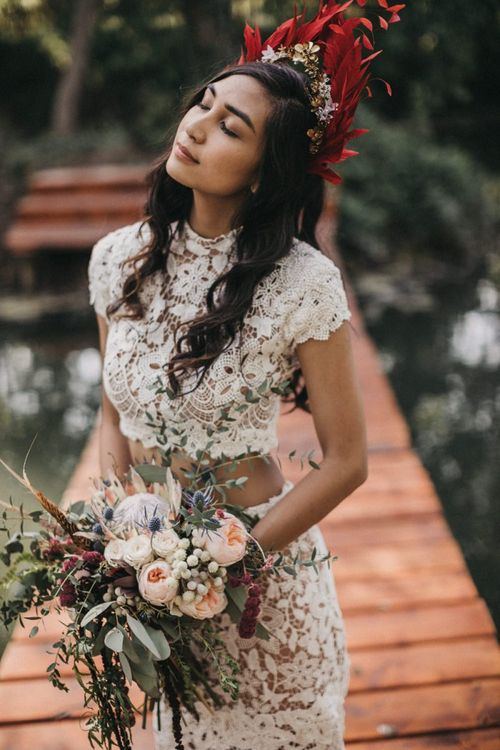 Lace bridal separates and feather crown. . Boho wedding dresses
