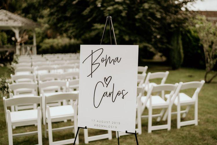 Contemporary outdoor  wedding ceremony sign