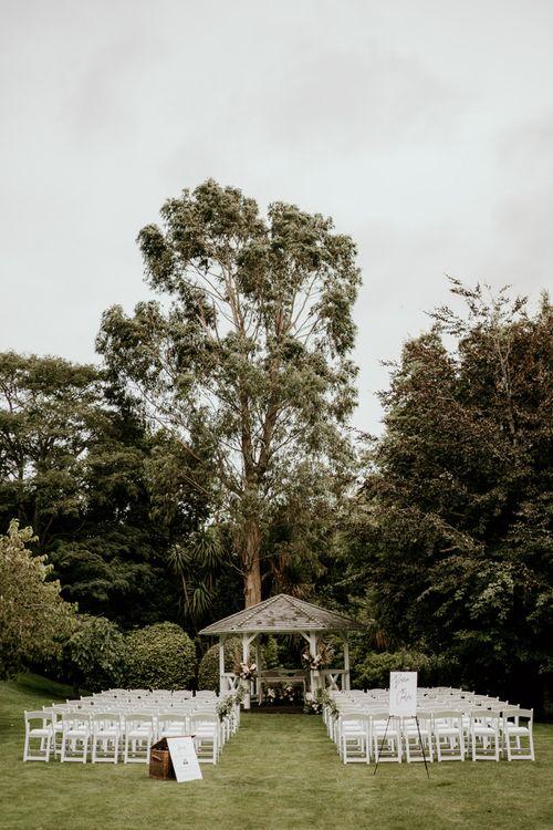 Outdoor wedding ceremony at Pelham House