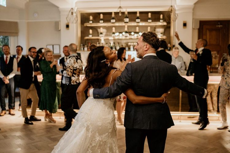Black bride and Irish groom first wedding dance