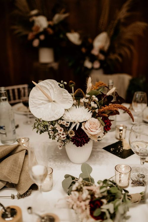 Wedding table flowers with white  Anthurium flowers