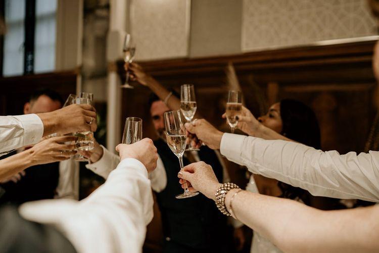 Wedding reception champagne  'cheers'