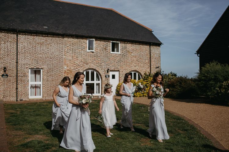 Bridal Party with Bridesmaids in Grey Dresses and Flower Girl in Monsoon Dress