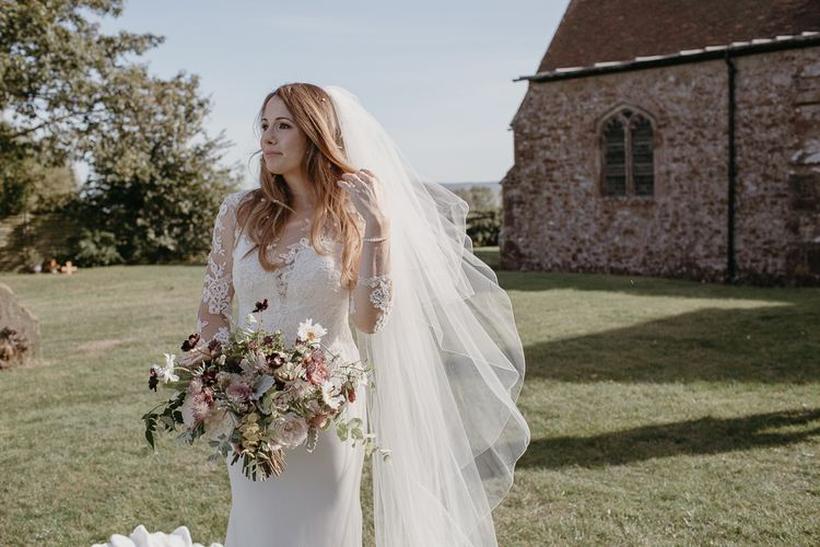 Bride in Lace St Partrick Wedding Dress with Long Sleeves