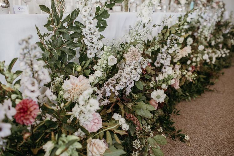 Top Table Wedding Flowers with Stocks, Dahlias and Carnations by Joanna Truly Floral Design