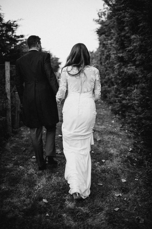 Bride in Lace Back St Patrick Wedding Dress