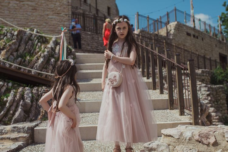 Flower Girls in Dusky Pink Tulle Dresses and Flower Crowns