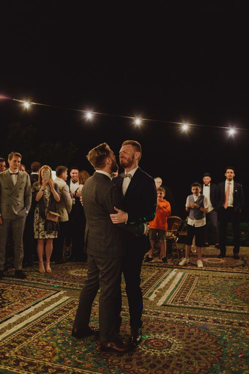 Mr & Mr Same-Sex First Dance on Rugs and Under Fairy Lights