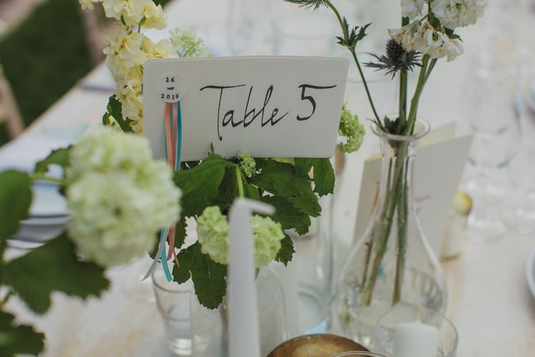 Table Number Sign with Ribbon Decor