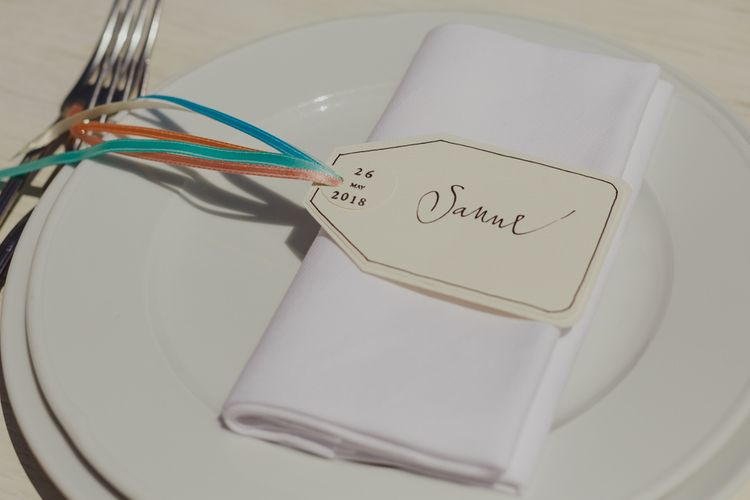 Name Place Tag with Colourful Ribbons