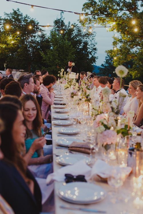 Outdoor Wedding Reception in the Evening