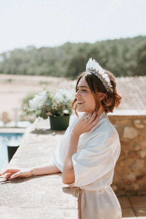 Bride in White Feather Headdress