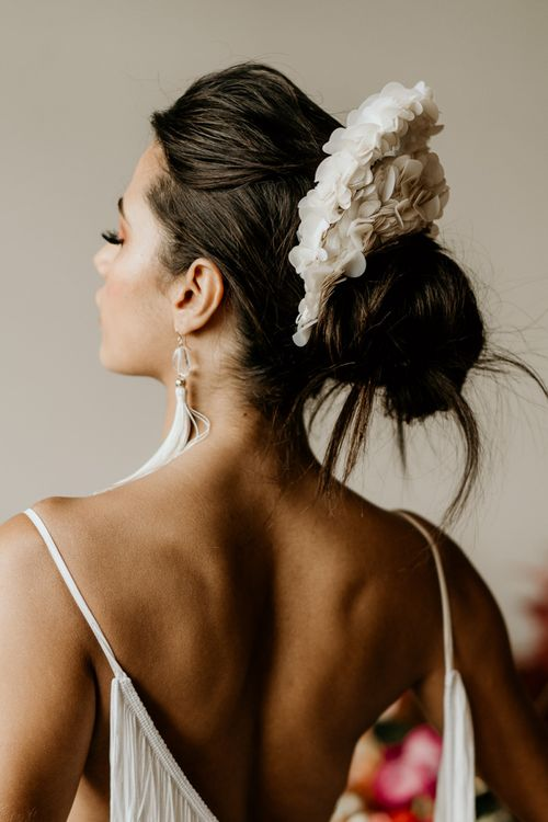 Messy Bridal Updo with White Applique Headdress