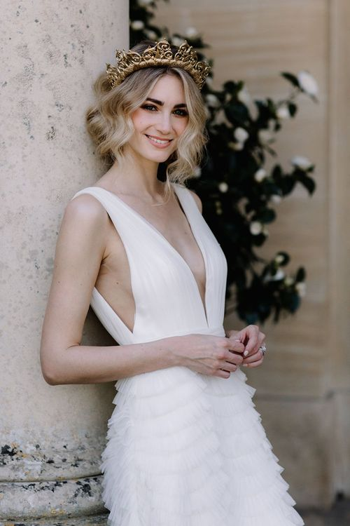 Beautiful Bride in Viktoria Novak Gold Crown