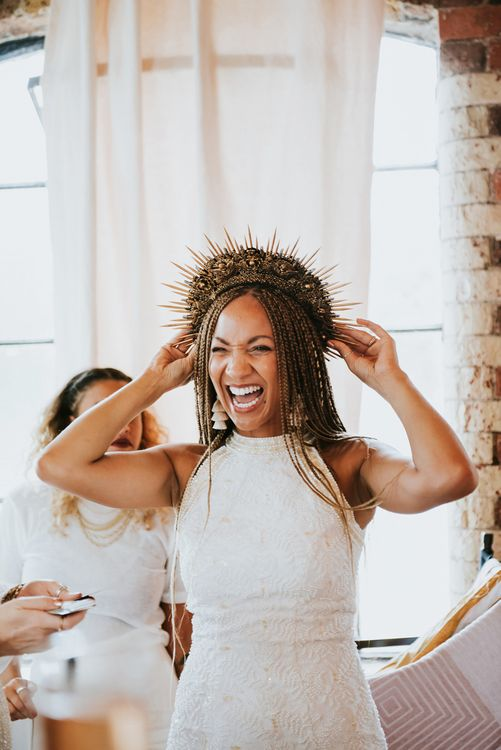 Black Bride with Braids and Structured Headdress