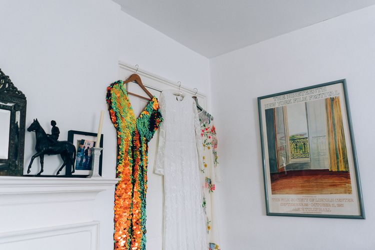 Bride In Sequinned Jumpsuit With Flower Crown For Marquee Wedding // Wild Flower Decor With Naked Wedding Cake // Images By Casey Avenue Photography