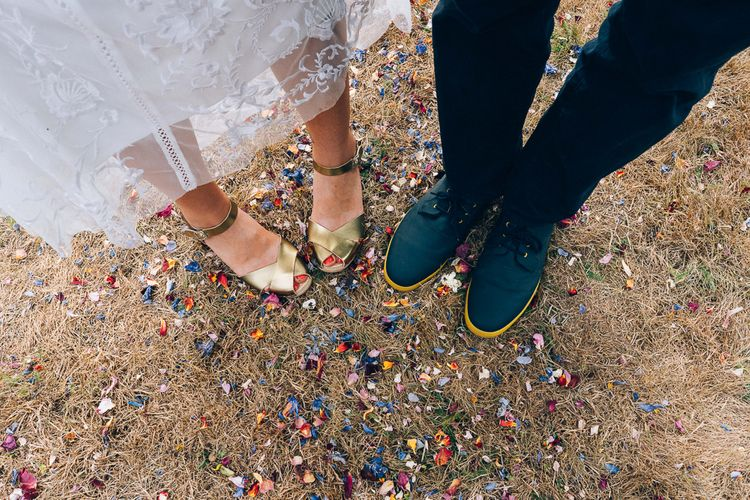 Gold Clogs For Bride // Images By Casey Avenue Photography