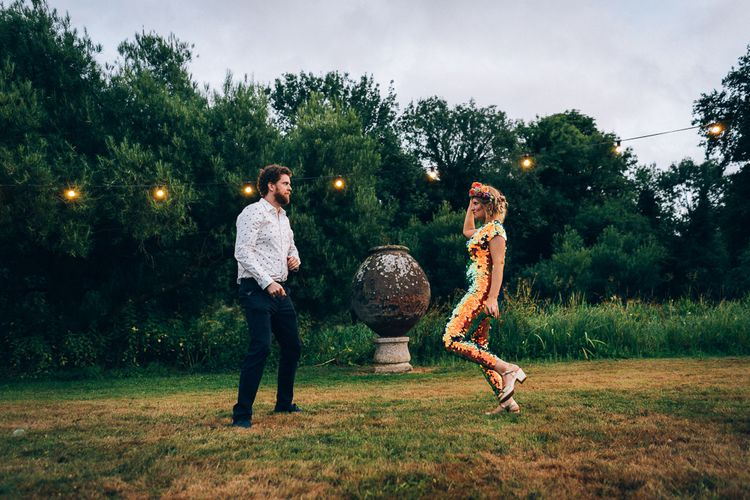 Bride In Sequinned Jumpsuit // Images By Casey Avenue Photography