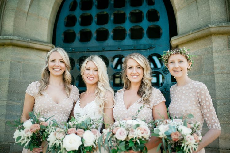 Bridesmaids In Embellished Motee Maids Dresses