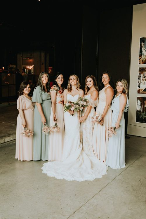Bridal Party Portrait with Bridesmaids in Pastel Jenny Yoo Dresses and Bride in Lace Pronovias Wedding Dress