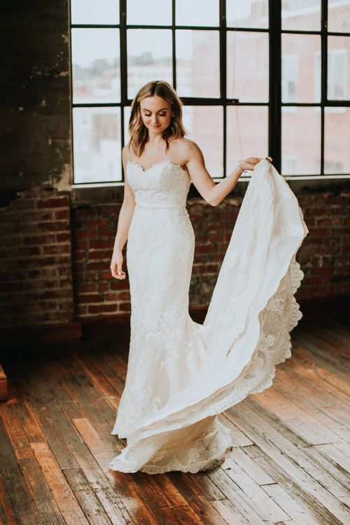 Beautiful Bride in Lace Mermaid Style Pronovias Wedding Dress