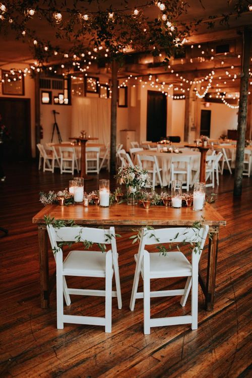Sweetheart Wedding Breakfast Table with Candle Light and Romantic Flowers